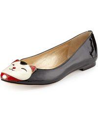 Kate Spade Jimi Kitty Face Ballerina Flat Black Cream 355b55b - Lyst