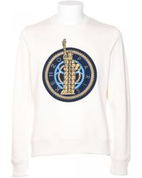 Kenzo White Cotton Mixed With Embroidery Sweatshirt white - Lyst