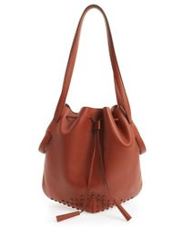 Tod's Women'S 'Secchiello' Drawstring Leather Bucket Bag - Beige - Lyst