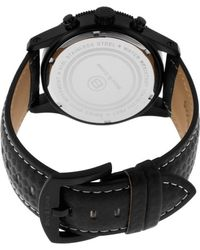 Ben Minkoff - The Colonel Chronograph Black Genuine Leather And Dial Black Ip Steel Case - Lyst