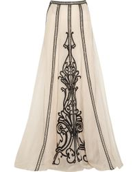 Temperley London Crivelli Embellished Embroidered Silk-Organza Maxi Skirt - White