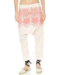 Surf Bazaar - Embroidered Harem Trousers - Sand/flora - Lyst