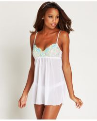 Hanky Panky Embroidery Babydoll With G-String 966981 white - Lyst