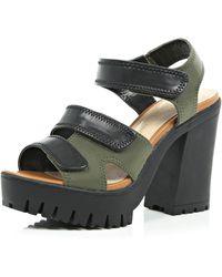 River Island Khaki Chunky Velcro Strappy Sandals khaki - Lyst