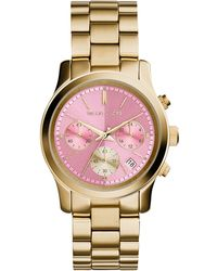 Michael Kors Women'S Chronograph Runway Gold-Tone Stainless Steel Bracelet Watch 38Mm Mk6161 - Lyst