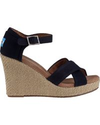 TOMS Strappy Wedge Sandal Black Fabric black - Lyst