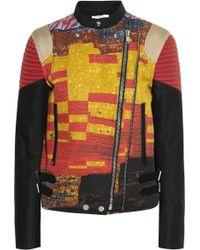 Givenchy Ribbed Cottongabardine Biker Jacket with Mosaic Pixel Print - Lyst