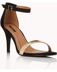Forever 21 Sleek Ankle Strap Sandals - Metallic