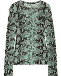 Proenza Schouler Snake-print Slub Cotton-jersey Top - Lyst