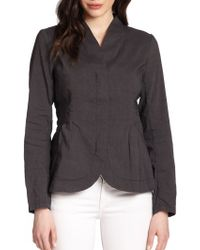Eileen Fisher High-Collar Peplum Jacket - Lyst