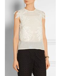 Erdem Naomi Broderie Anglaise And Guipure Lace Top - Lyst