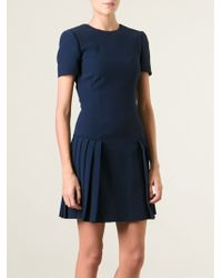Alexander McQueen Pleated Mini Dress - Lyst