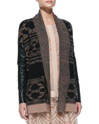 Twelfth Street Cynthia Vincent - Faux-Leather-Sleeve Knit Log Cabin Cardigan - Lyst