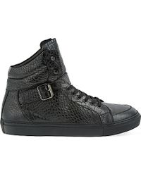 The Kooples - Croc-embossed Leather High-top Trainers - Lyst