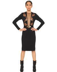 Francesco Scognamiglio Lace Detail Viscose Crepe Jersey Dress - Lyst