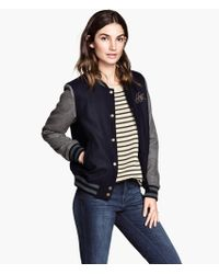 H&M Baseball Jacket in A Wool Mix - Lyst