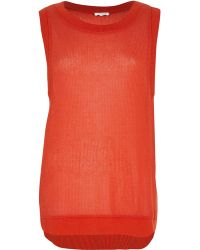 River Island Red Open Weave Curved Hem Knitted Top - Lyst