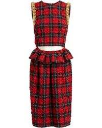 Simone Rocha Embellished Tartan Dress - Lyst