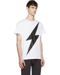 Neil Barrett White And Black Thunderbolt T_Shirt white - Lyst