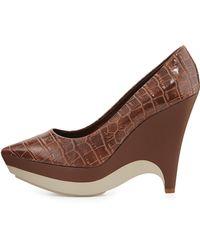 Stella McCartney Faux-Leather Platform Wedge - Lyst