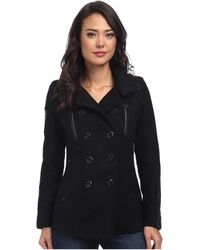 Affliction Black Amy Peacoat - Lyst