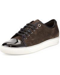 Lanvin Suede Captoe Lowtop Sneaker - Lyst