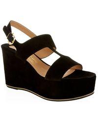 Ferragamo Suede Fiamma Wedge Sandals - Lyst