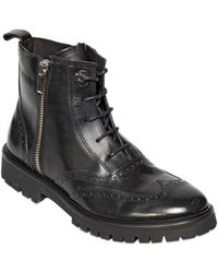 Diesel Black Gold Smooth Leather Brogue Boots - Lyst