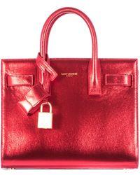 Saint Laurent Red Laminated Effect Leather Sac De Jour Nano Bag - Lyst