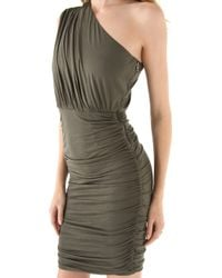 Air By Alice + Olivia - One Shoulder Gathered Dress - Army - Lyst