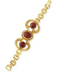 Jose & Maria Barrera 24K Plated Deep Red Stone Swirl Bracelet - Lyst