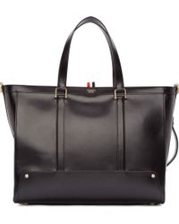 Thom Browne Black Buffed Leather Tote - Lyst