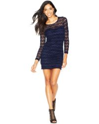 Guess Illusion Zig Zag Lace Bodycon Dress - Lyst