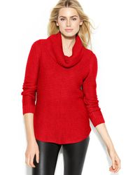 Calvin Klein Ribbed Cowl-Neck Sweater - Lyst