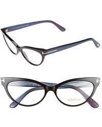 Tom Ford Women'S 54Mm Cat Eye Optical Sunglasses - Black/ Chalkstripe Blue (Online Only) - Lyst