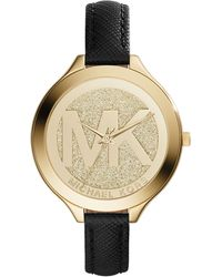 Michael Kors Women'S Slim Runway Black Saffiano Leather Strap Watch 42Mm Mk2392 - A Macy'S Exclusive - Lyst