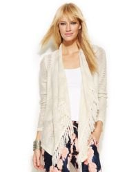 Inc International Concepts Zig Zag Fringed Open Front Cardigan - Lyst