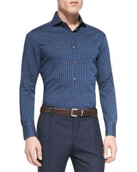 Brunello Cucinelli Denim Polka-Dot Long-Sleeve Sport Shirt - Lyst
