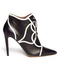 Tabitha Simmons 'Tinsley' Brogue Trim Leather Ankle Boots black - Lyst