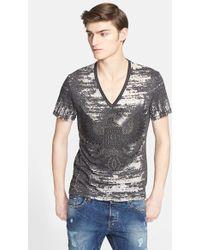 Just Cavalli Studded Burnout V-Neck T-Shirt black - Lyst