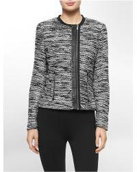 Calvin Klein Plus Marled Zip-up Jacket - Grey