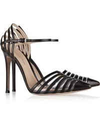 Gianvito Rossi Cutout Leather And Pvc Pumps - Lyst