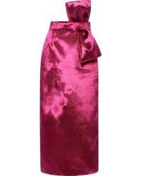 Katie Ermilio - Panne Velvet Bow Pencil Skirt - Lyst