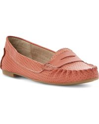 Steve Madden Murphey Perforated Leather Loafers Coralplain Synthetic - Lyst