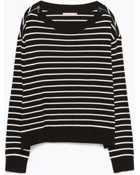 Zara Zip-Shoulder Striped Sweater - Lyst