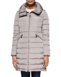 Moncler Flamme Mid-Length Quilted Jacket - Gray