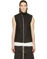 Rick Owens Black Grained Leather Mollino Vest - Lyst