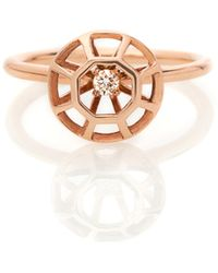 Lestie Lee Rose Gold Diamond Cage Ring With Diamond - Metallic