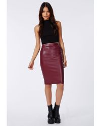 Missguided Mariota Faux Leather Pencil Skirt Burgundy - Lyst