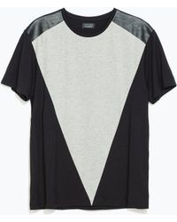 Zara Faux Leather Shoulder Tshirt - Lyst